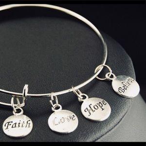 Faith Love Hope Believe adjustable silver bracelet